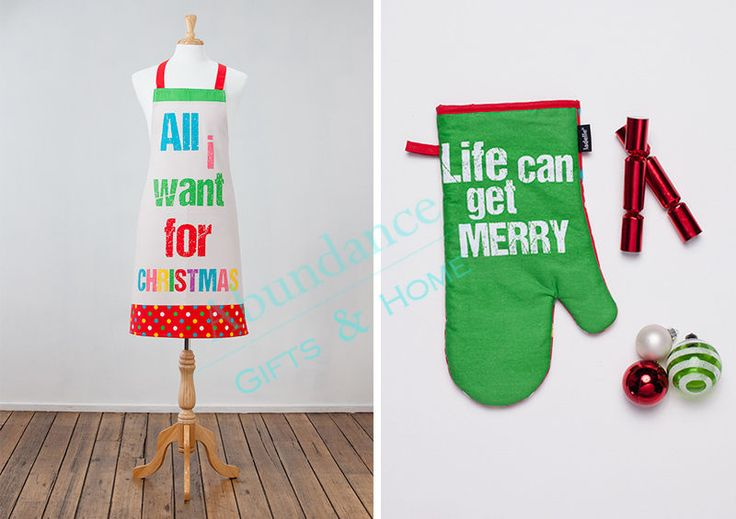 All I Want For Christmas Adult Apron & Oven Mitt Kitchen 2 pc Set
