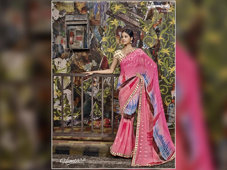 Stop from boring ethnic selection and invest in eye-catching Pink, Peach & multi coloured Georgette #Saree by best priced guarenteed, now available on #LaxmipatiSaree.  #couture #style #happiness #womens #HIMTARA0616 #fashion #easyshopping #designerwear #rainydaychic
