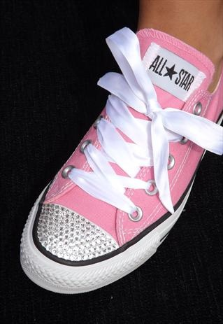 Customised Pink Converse All Star with Swarovski Crystals  85d8e47e0d62