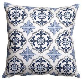 Marrakech inspirerad kudde i blåa toner. Tanger