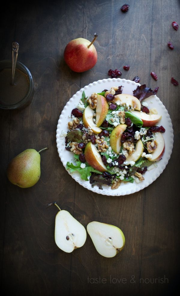 You've had this type of salad before with pear, blue cheese, walnuts and cranberries, but this Maple Vinaigrette makes this salad spectacular!