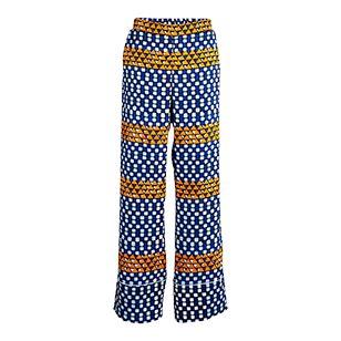 Bukse med høyt liv, full benlengde og et kraftig, fargerikt mønster. Den blanke stoffet og de vide bena gjør den enkle passformen ekstra elegant.