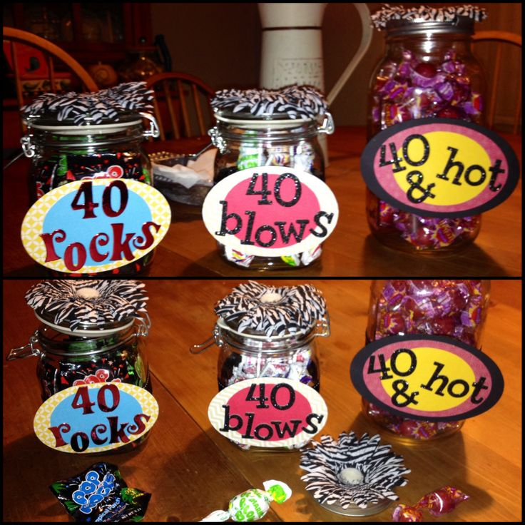 My latest 40th birthday party favors for a BFF. 40 Rocks---Pop Rocks 40 Blows---Blow Pops 40 & Hot---Atomic Fireballs (had to order these candies online?!?!?)