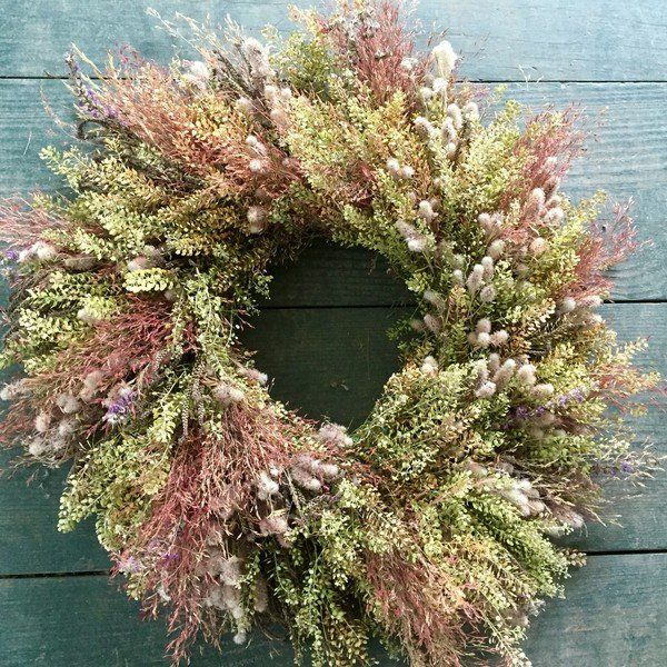 All natural dried flower wreath made with wild grains, Wheat and grasses. Handmade and Free shipping..