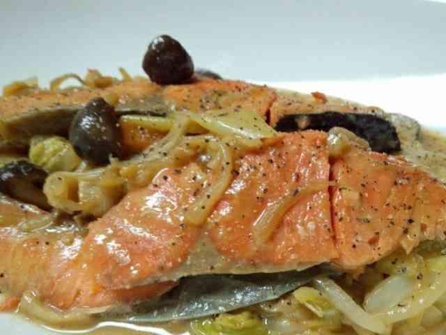 フライパンで鮭のちゃんちゃん焼きの画像