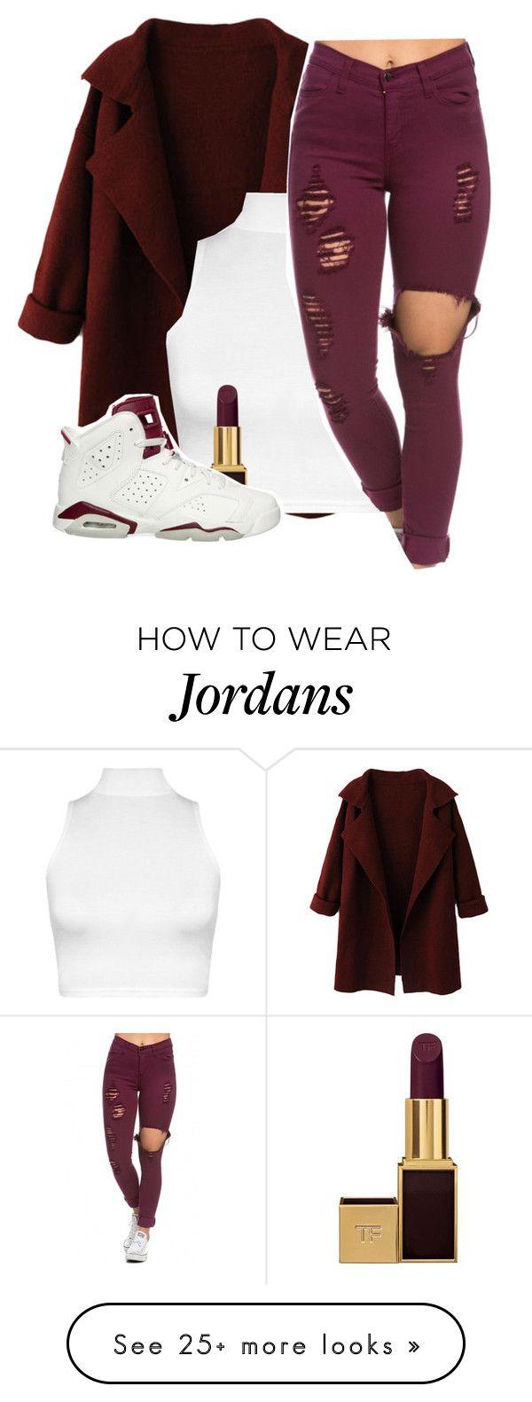 Tenue stylée pour jeune composée d'un Crop Top , un gilet fluide , une paire de Jordan  , des accessoires , une rouge a lèvres Bordeaux foncé  et bien sur le fameux jean déchiré