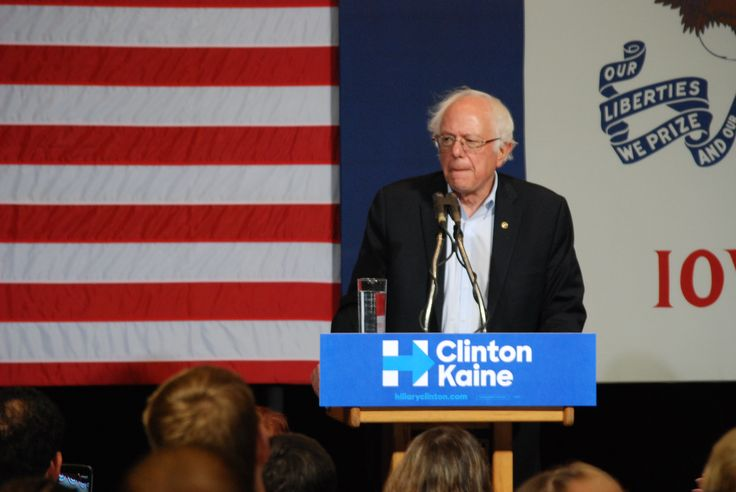 Vermont senator and former Democratic presidential candidate Bernie Sanders campaigns for Democratic nominee Hillary Clinton at Iowa State's Scheman Building on Saturday. Photo by Grayson Schmidt/Ames Tribune http://www.amestrib.com/news/20161105/sanders-stumps-for-clinton-days-ahead-of-election