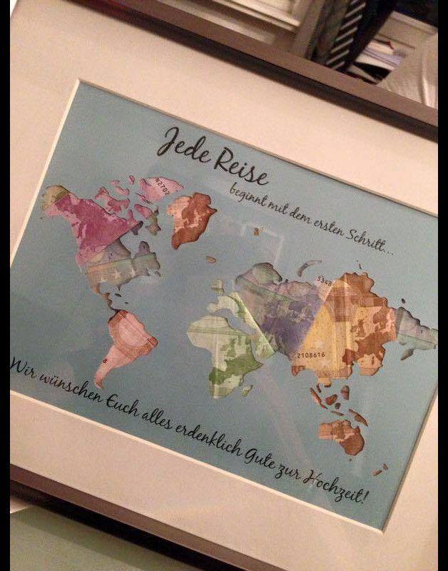 Tolle individuell gestaltbare Geschenkidee passend für jeden Anlass.  Die Weltkarte ist ausgeschnitten und kann nach beliebne hinterlegt werden.  Toll sieht es natürlich mit Geld hinterlegt aus....