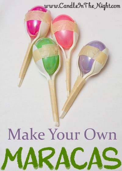 Lots of easy craft ideas for kids here. Make your own maracas today! They're so easy! | candleinthenight.com