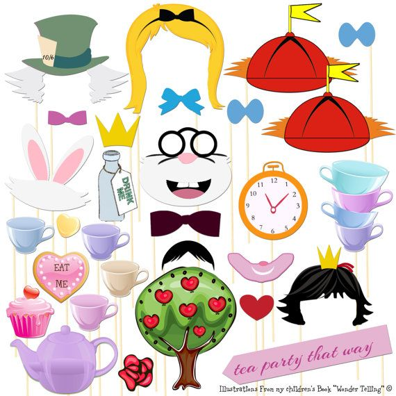 Photo Booth Props 30 Piece Alice In Wonderland Tea Party Photo Booth Party Set - Prom - Wedding- Carival - Birthday - Shower