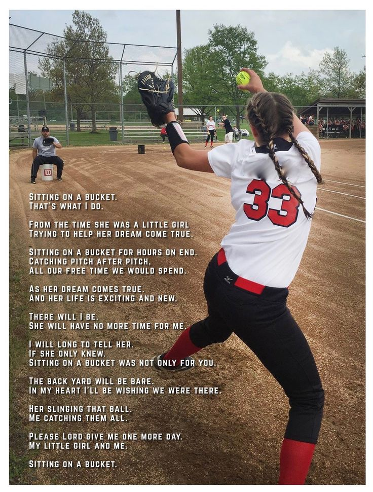 "Softball poem titled ""Sitting on a Bucket"" about father and daughter…"