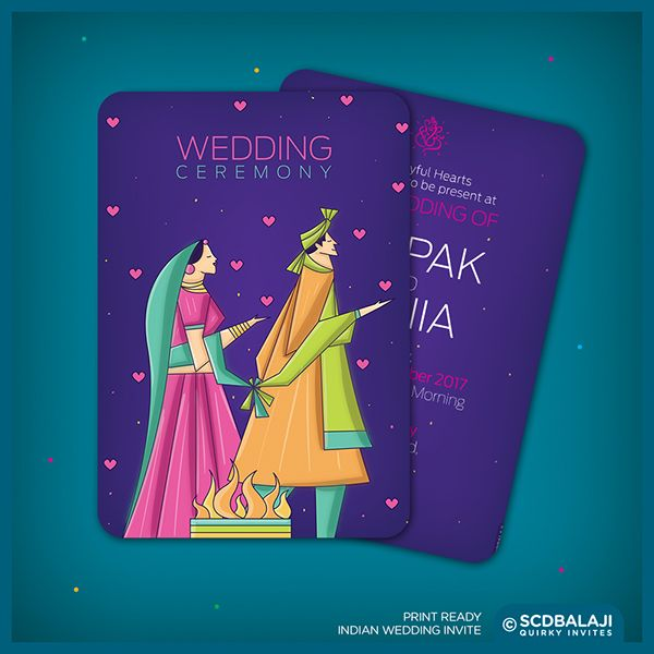 Contemporary Indian Wedding Invite Package by SCD Balaji Indian Illustrator - Wedding Ceremony