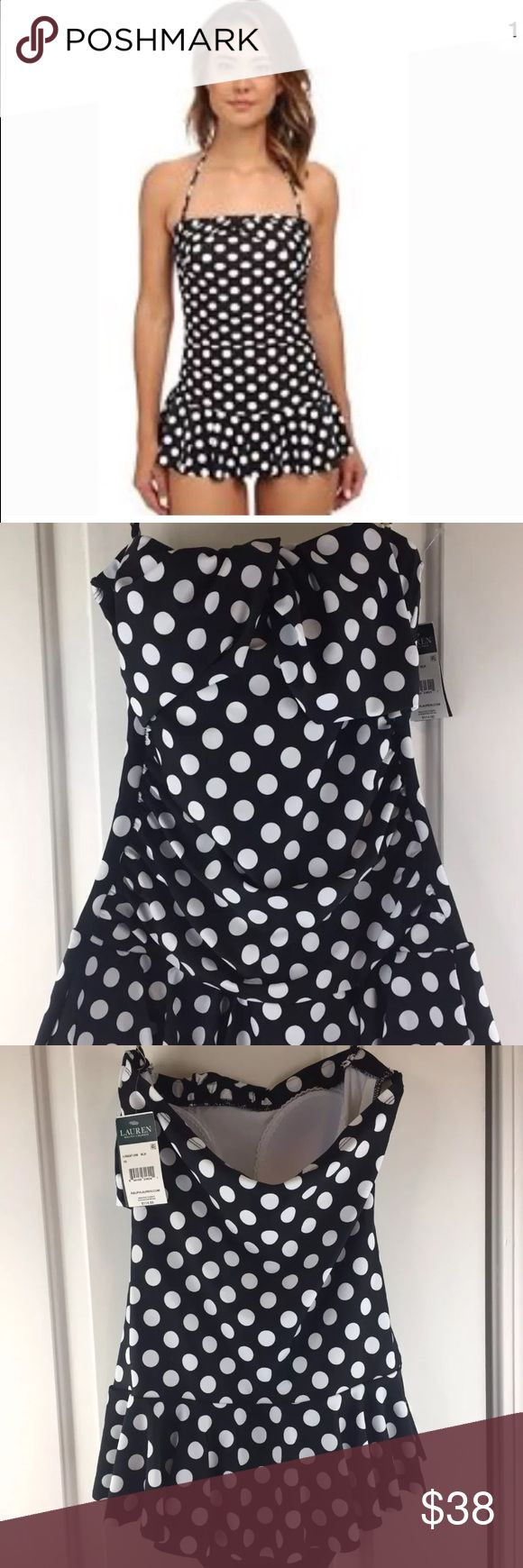 Ralph Lauren Black White Polka Dot Swimsuit New Woman's Ralph Lauren black white Polka Dot one piece Swimsuit . Has built in bra pads.  Size 10 New with tags  Comes from a smoke free home Ralph Lauren Swim One Pieces