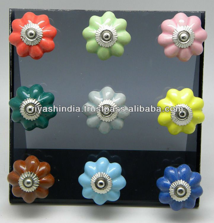 Ceramic Drawer Pull Knobs with Metal Fittings - Plain Color, View Plain Knob, Knobsindia Product Details from RIYASH EXPORTS on Alibaba.com