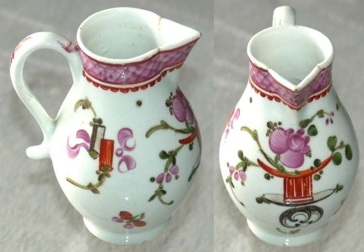 "SOLD Lowestoft porcelain polychrome sparrowbeak jug in the scarce ""Top Hat"" pattern 1785-90  £375.00"
