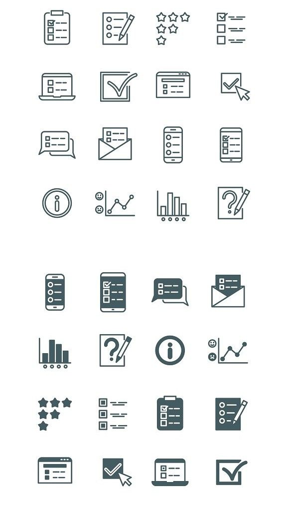 quiz and test list icons set online report design icon set