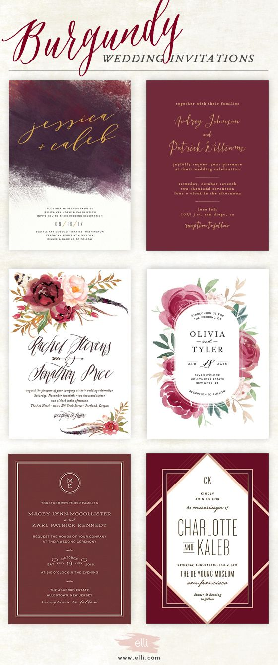 Now trending - burgundy wedding invitations at elli.com