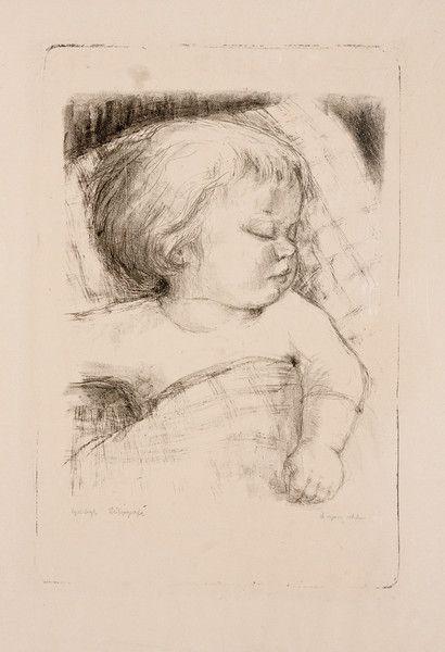 Tine sover, litografi ca 1955, eget tryk