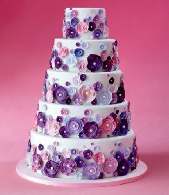 whimsical wedding cake nyc lavender pink purple peonies on a traditional white 27166