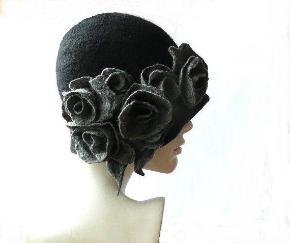 Cloche de fieltro sombrero de fieltro sombrero negro sombrero