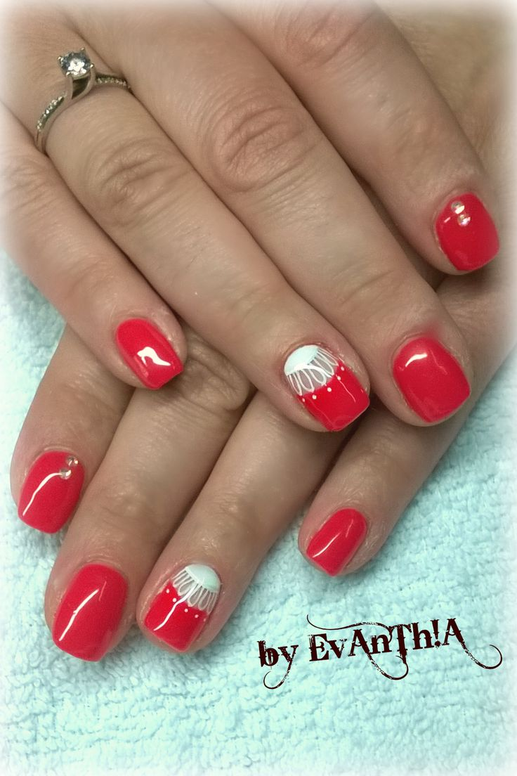 #nails #manicure #coral #prettynails #coolnails #nails2inspire #inspiration #white #nostickers #nailart #gelpolish #cmarso #by_Evanthia