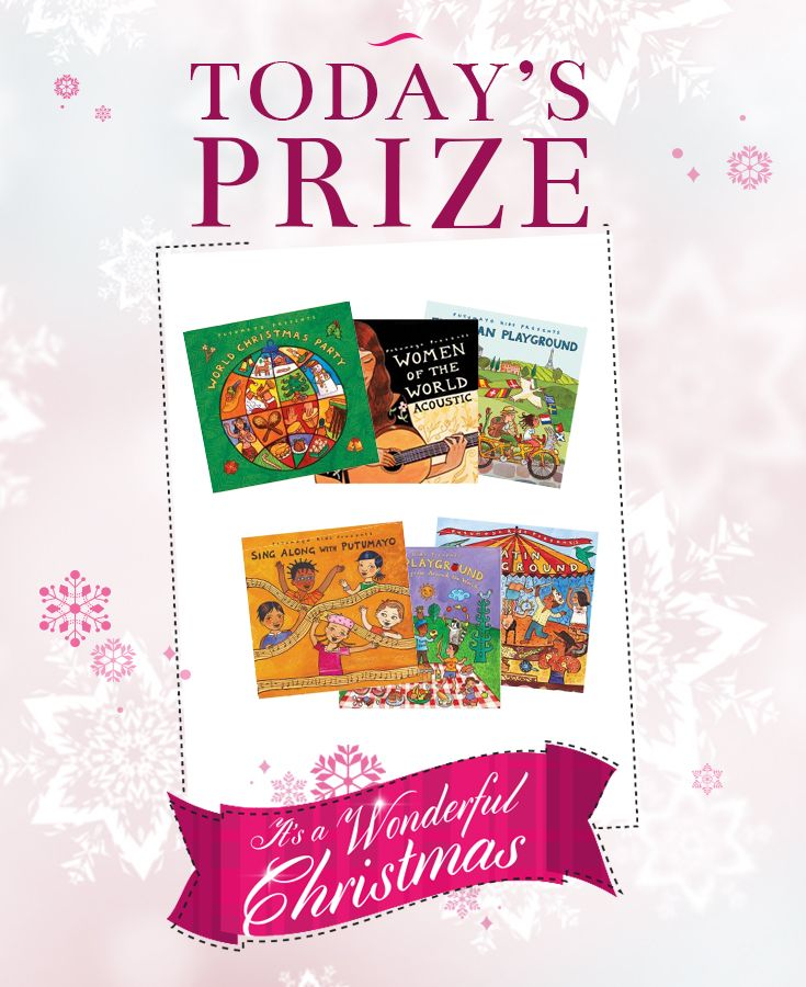 Today's prize is a bundle of wonderful Putumayo CDs. Ranging from stunning acoustic music from women around the globe to multilingual sing alongs for children there's something for everyone! Good Luck! Please see here for full ts&cs; www.blossommotherandchild.com/12-days-christmas-competition