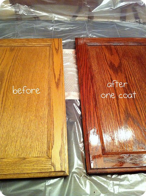 How to stain cabinets.