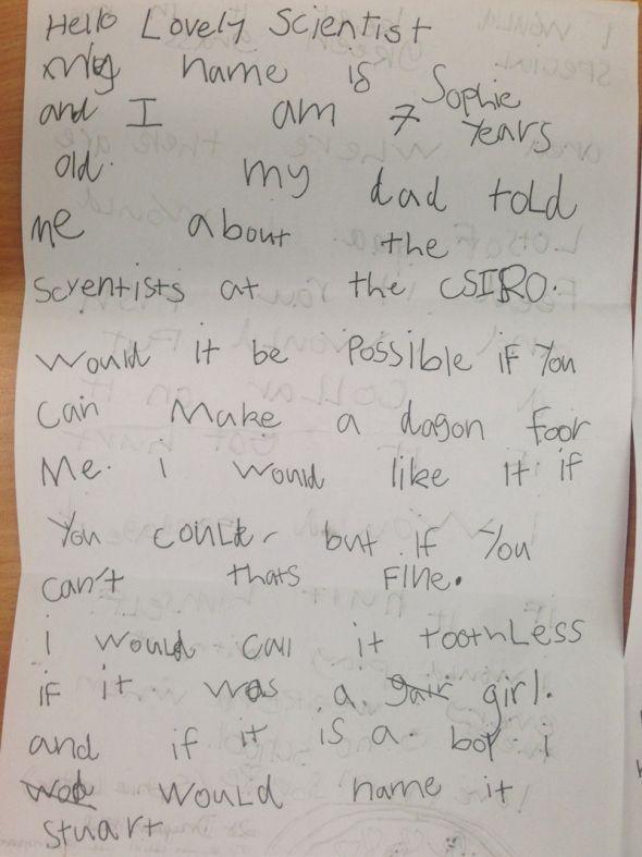 Sophie's letter asking for a dragon. Delivered via 3D printing! Gorgeous :)