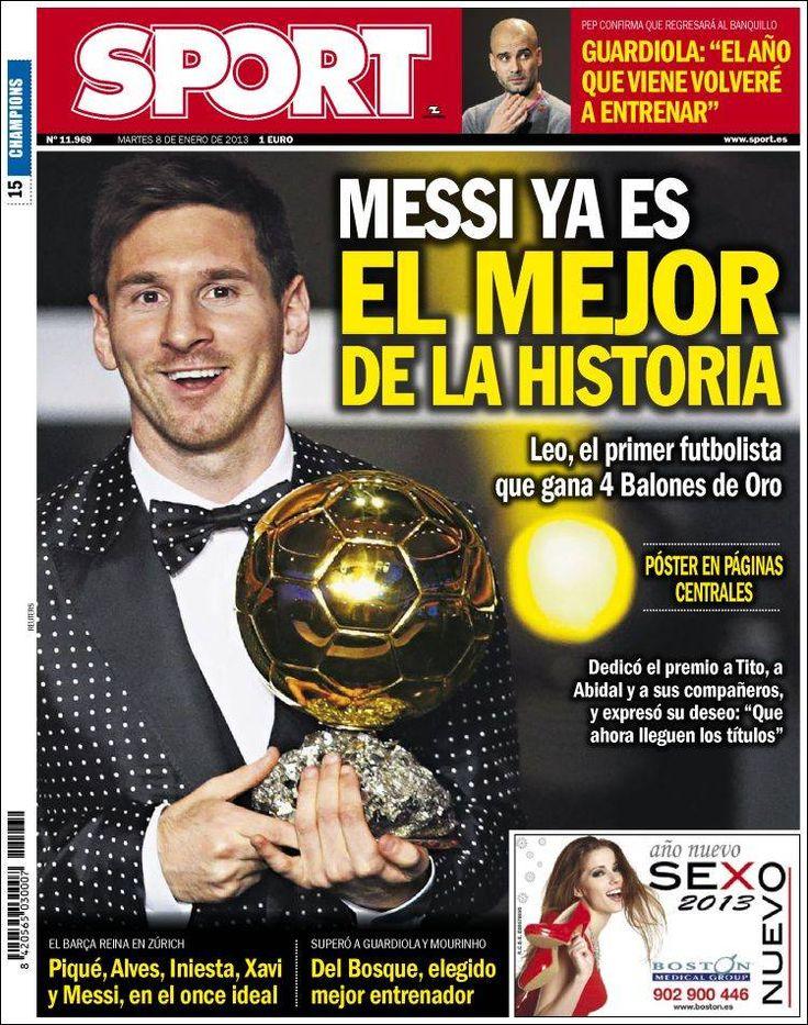 Titulares y Portada del 8 de Enero de 2013 del Periodico Deportivo Sport ¿Que te parecio este día?