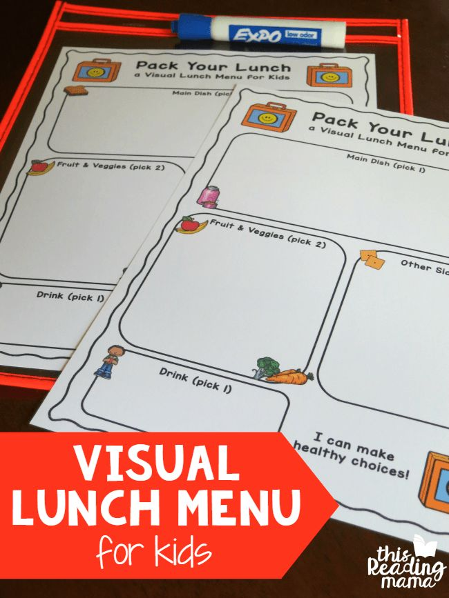 Visual Lunch Menus for Kids that help kids pack their own lunch - free printables! - This Reading Mama
