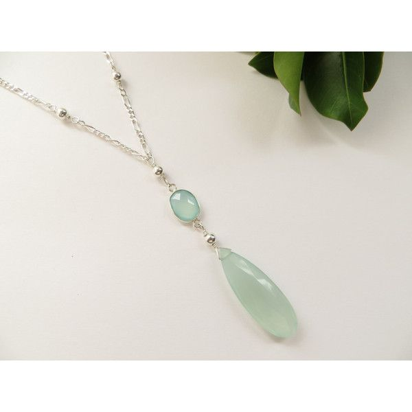 Sea Mist Chalcedony Necklace, Sterling Silver Bikini Necklace, Large... (£57) ❤ liked on Polyvore featuring jewelry and necklaces