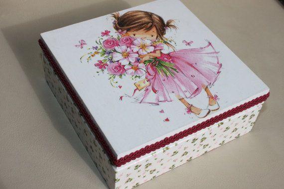 Decoupaged Wooden Jewellery Box Girl with Pink by Jurosihandmade