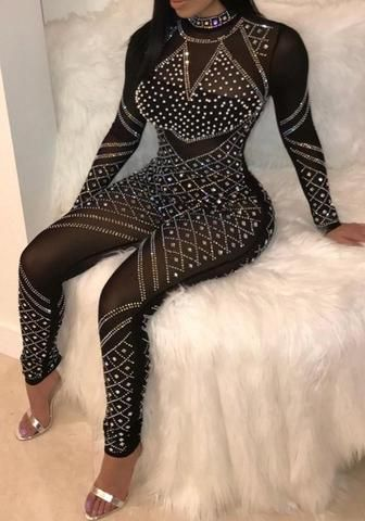 691e99017ba4 Black Patchwork Rhinestone Sparkly Zipper Bodycon Clebwear Party Long  Jumpsuit