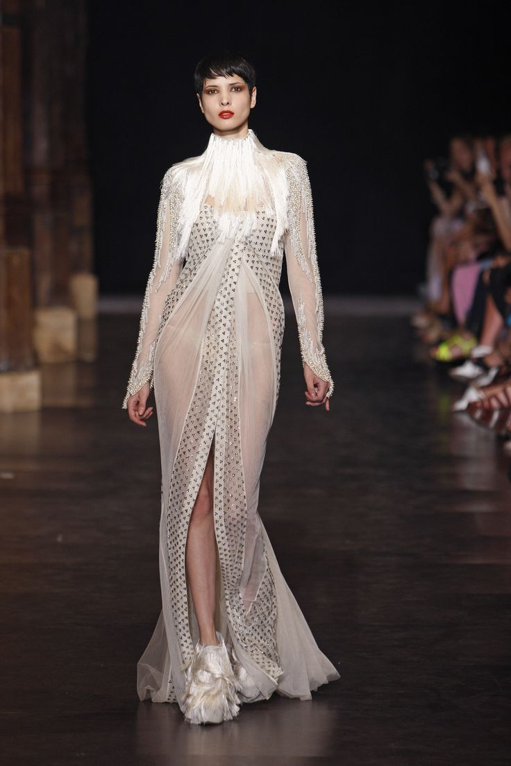 Floor length long sleeves couture gown
