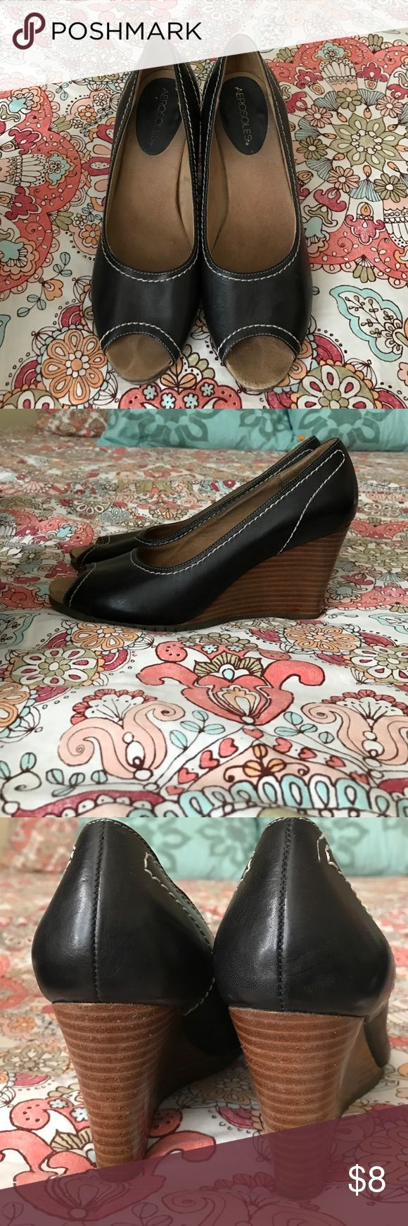 Aerosols peep toe wedges. EUC Aerosoles peep toe wedges. Black. Very comfortable, just need to downsize my closet. AEROSOLES Shoes Wedges