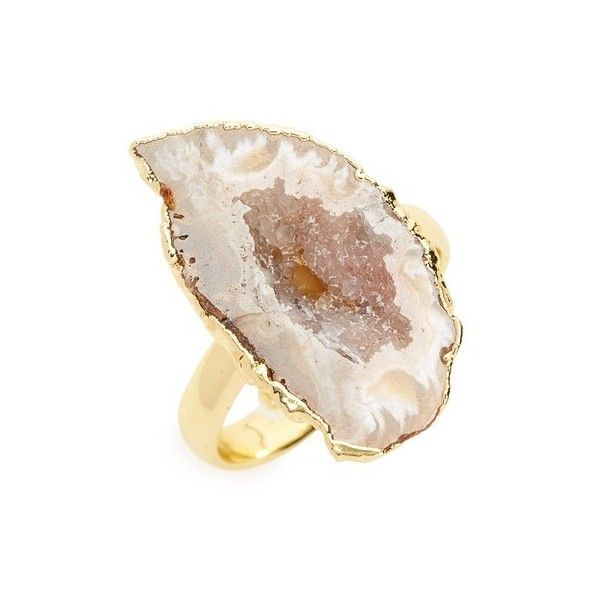 Women's Love's Affect Geode Statement Ring (105 BRL) ❤ liked on Polyvore featuring jewelry, rings, gold multi, geode ring, 14 karat gold ring, geode jewelry, polish jewelry and cocktail rings