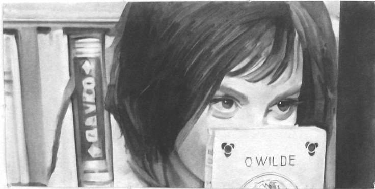 'O Wilde', 2012, Charcoal on paper, 18 x 36 inches.