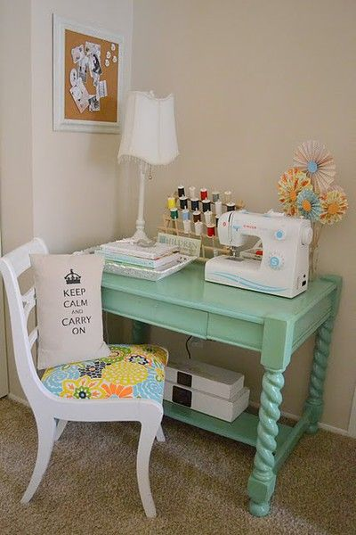 Sewing corner w antique desk painted turquoise i love for Corner craft table with storage