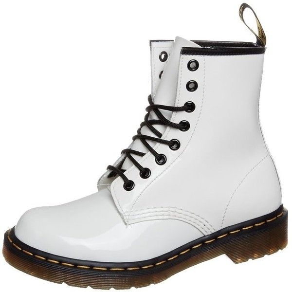 """Dr. Martens ORIGINAL """"1460 BLACK PAYTENT"""" Laceup boots patent ($135) ❤ liked on Polyvore featuring shoes, boots, dr. martens, zapatos, white, white patent boots, block heel boots, cap toe boots, white patent leather boots and black white boots"""