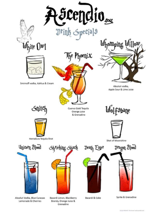Harry Potter drinks for our harry potter movie marathon! @Kelly Teske Goldsworthy frazier Hollenkamp