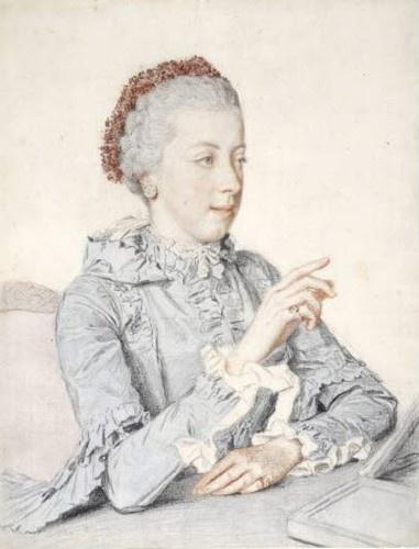Jean-Etienne Liotard (Geneva 1702 - 1789 Geneva)    Portrait of Maria Elisabeth, Archduchess of Austria, future abbess in Innsbruck (1743-1809), 1762.  Black chalk, graphite pencil, watercolor and watercolor glazes on white laid paper.