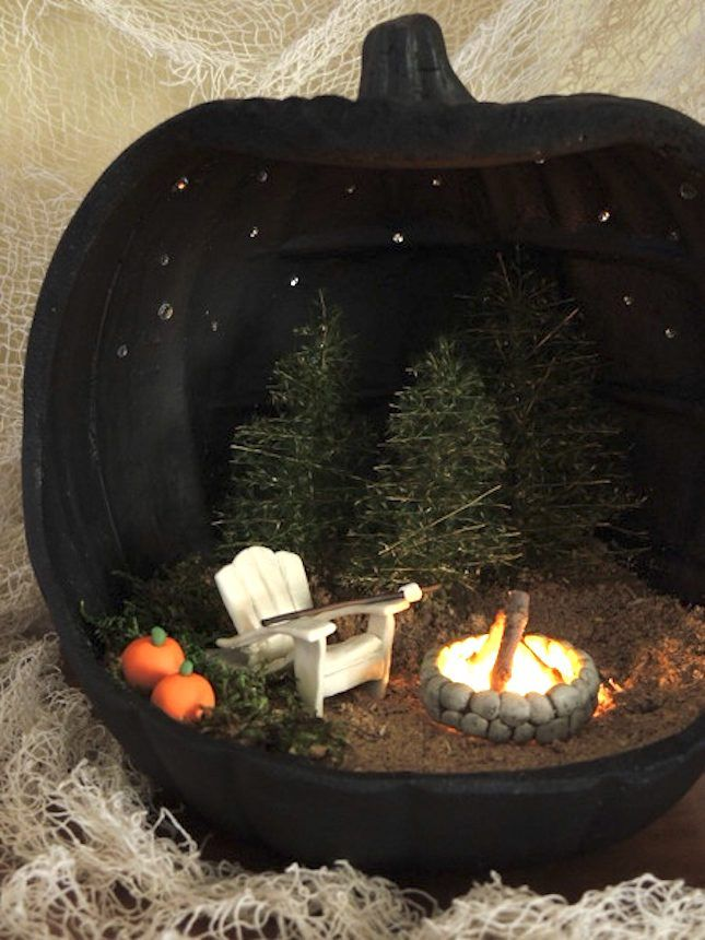 save this for 18 pumpkin dioramas that will slay your halloween decor - Craft Halloween Decorations