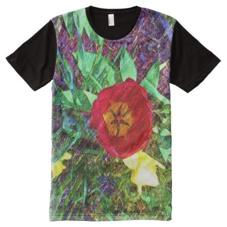 Flower Tulip drawing All-Over-Print T-Shirt - tap, personalize, buy right now!