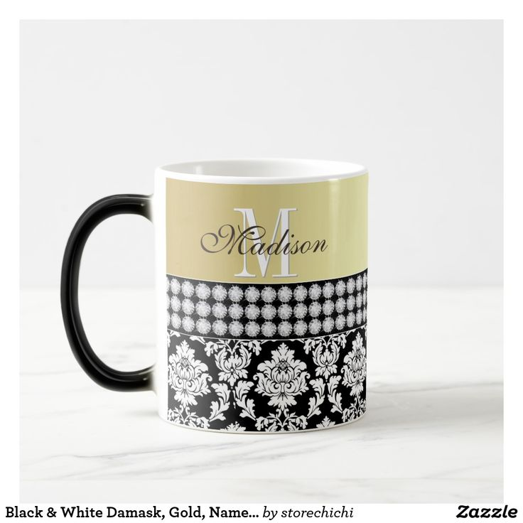 Black & White Damask, Gold, Name & Monogram