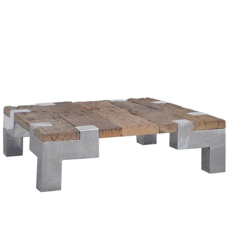Table basse design teck recyclé et aluminium carrée 100cm - Meuble Passion