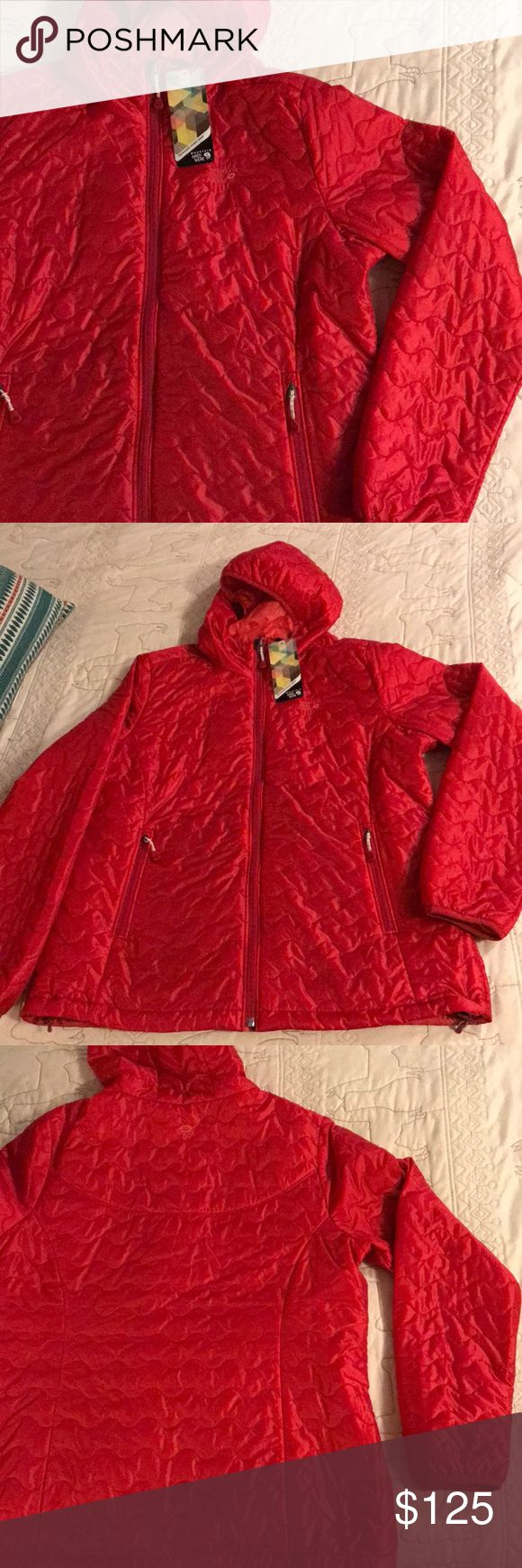 NWT Mountain Hardwear Thermostatic Hooded Jacket NWT Mountain Hardwear Thermostatic Hooded Jacket. New with tags. Purchased online and cannot return. Great color and fit. Didn't fit the person it was purchased for. Pictures from the internet show exact style and specifications. Jacket is a burnt orange/red color. Purchased on sale for $228. Regularly $295. Mountain Hardwear Jackets & Coats