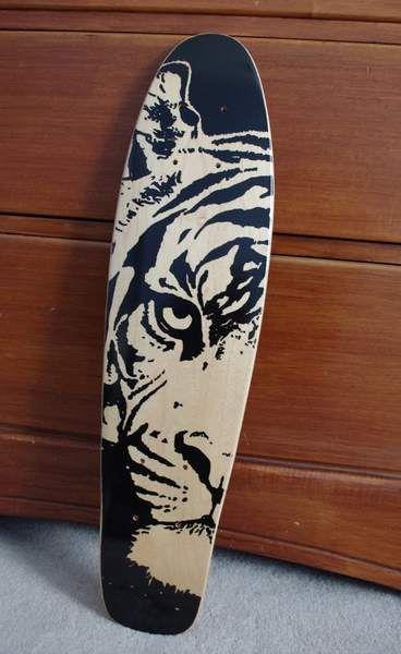 tiger griptape art longboard deckslongboard designskateboard