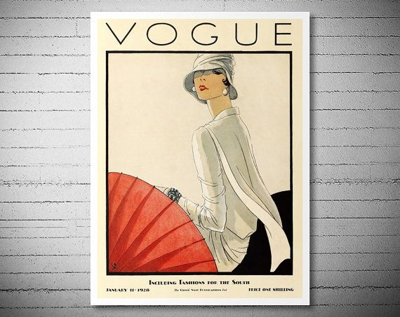 Vogue Cover  January 11, 1928 - Vogue Cover Poster - Poster Paper, Sticker or Canvas Print