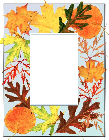 Scanned real fall leaves; laid out to create border for cards & frame for quotes