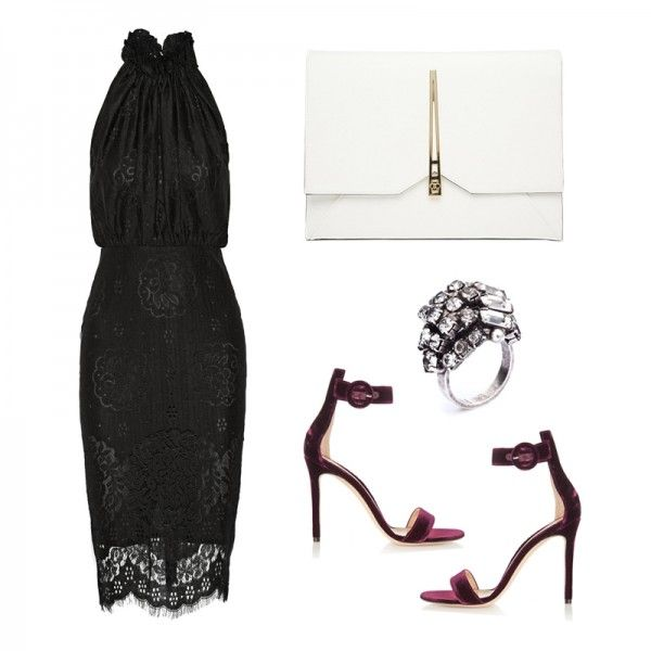 The Perfect Wedding-Guest Dress For Your State Of Mind | The Zoe Report  Heather Lace Halterneck Dress, Lover $695 Velvet Sandals, Gianvito Rossi $790 Clutch Bag with Geo Lock, ASOS $27 Eden Ring, Dannijo $155